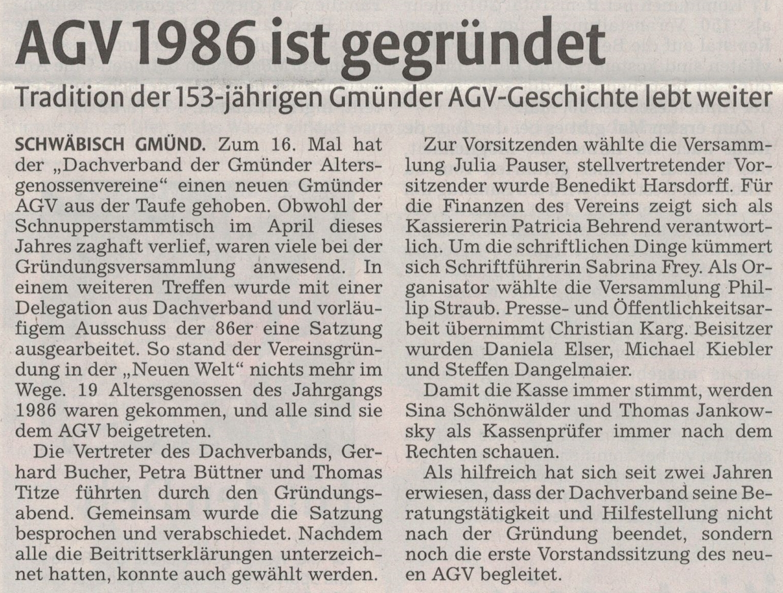 2016-05-23 Gründung AGV 86